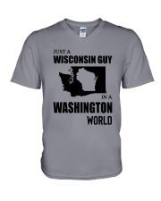 JUST A WISCONSIN GUY IN A WASHINGTON WORLD V-Neck T-Shirt thumbnail