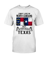 LIVE IN NORTH CAROLINA BEGAN IN TEXAS Classic T-Shirt tile