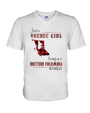 QUEBEC GIRL LIVING IN BRITISH COLUMBIA WORLD V-Neck T-Shirt thumbnail