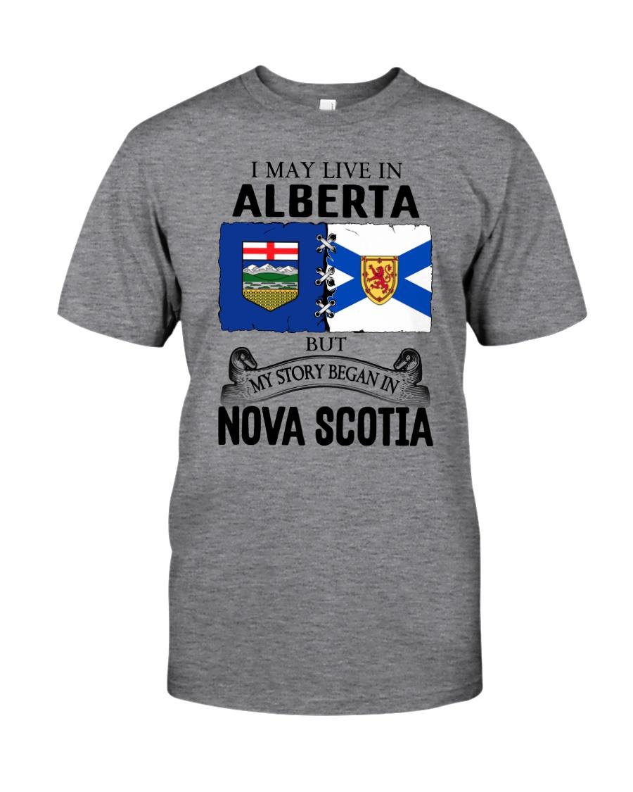 LIVE IN ALBERTA BEGAN IN NOVA SCOTIA ROOT Classic T-Shirt