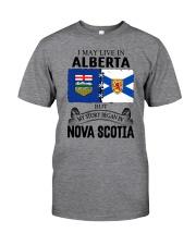 LIVE IN ALBERTA BEGAN IN NOVA SCOTIA ROOT Classic T-Shirt front