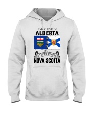 LIVE IN ALBERTA BEGAN IN NOVA SCOTIA ROOT Hooded Sweatshirt thumbnail