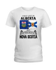 LIVE IN ALBERTA BEGAN IN NOVA SCOTIA ROOT Ladies T-Shirt thumbnail