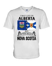 LIVE IN ALBERTA BEGAN IN NOVA SCOTIA ROOT V-Neck T-Shirt thumbnail