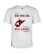 NEW YORK GIRL LIVING IN WEST VIRGINIA WORLD V-Neck T-Shirt thumbnail