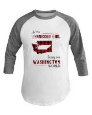 TENNESSEE GIRL LIVING IN WASHINGTON WORLD Baseball Tee thumbnail