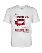 TENNESSEE GIRL LIVING IN WASHINGTON WORLD V-Neck T-Shirt thumbnail