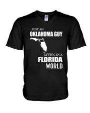 JUST AN OKLAHOMA GUY LIVING IN FLORIDA WORLD V-Neck T-Shirt thumbnail