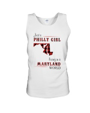 PHILLY GIRL LIVING IN MARYLAND WORLD Unisex Tank thumbnail