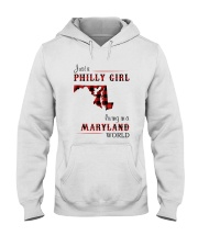 PHILLY GIRL LIVING IN MARYLAND WORLD Hooded Sweatshirt thumbnail