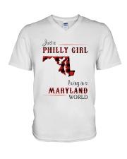 PHILLY GIRL LIVING IN MARYLAND WORLD V-Neck T-Shirt thumbnail