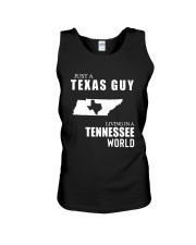 JUST A TEXAS GUY LIVING IN TENNESSEE WORLD Unisex Tank thumbnail