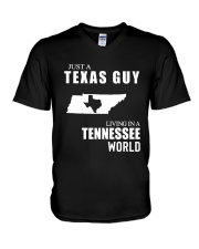 JUST A TEXAS GUY LIVING IN TENNESSEE WORLD V-Neck T-Shirt thumbnail