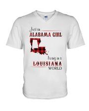 ALABAMA GIRL LIVING IN LOUISIANA WORLD V-Neck T-Shirt thumbnail