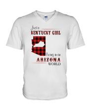 KENTUCKY GIRL LIVING IN ARIZONA WORLD V-Neck T-Shirt thumbnail