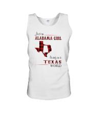 ALABAMA GIRL LIVING IN TEXAS WORLD Unisex Tank thumbnail