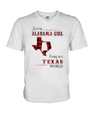 ALABAMA GIRL LIVING IN TEXAS WORLD V-Neck T-Shirt thumbnail