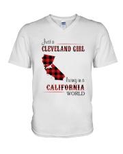 CLEVELAND GIRL LIVING IN CALIFORNIA WORLD V-Neck T-Shirt thumbnail