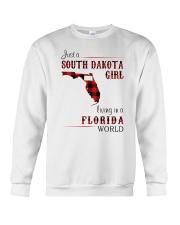 SOUTH DAKOTA GIRL LIVING IN FLORIDA WORLD Crewneck Sweatshirt thumbnail