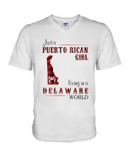 PUERTO RICAN GIRL LIVING IN DELAWARE WORLD V-Neck T-Shirt thumbnail