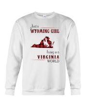WYOMING GIRL LIVING IN VIRGINIA WORLD Crewneck Sweatshirt thumbnail