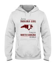 INDIANA GIRL LIVING IN NORTH CAROLINA WORLD Hooded Sweatshirt thumbnail