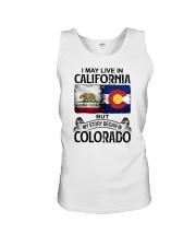 LIVE IN CALIFORNIA BEGAN IN COLORADO Unisex Tank thumbnail