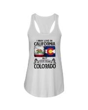 LIVE IN CALIFORNIA BEGAN IN COLORADO Ladies Flowy Tank thumbnail