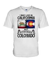 LIVE IN CALIFORNIA BEGAN IN COLORADO V-Neck T-Shirt thumbnail