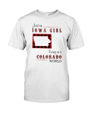 IOWA GIRL LIVING IN COLORADO WORLD Classic T-Shirt tile