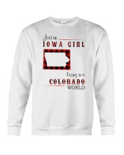 IOWA GIRL LIVING IN COLORADO WORLD Crewneck Sweatshirt tile