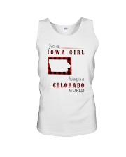 IOWA GIRL LIVING IN COLORADO WORLD Unisex Tank tile