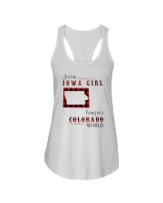 IOWA GIRL LIVING IN COLORADO WORLD Ladies Flowy Tank tile