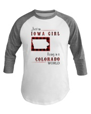 IOWA GIRL LIVING IN COLORADO WORLD Baseball Tee tile
