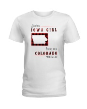 IOWA GIRL LIVING IN COLORADO WORLD Ladies T-Shirt tile
