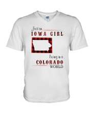 IOWA GIRL LIVING IN COLORADO WORLD V-Neck T-Shirt thumbnail