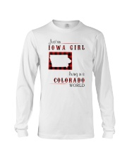IOWA GIRL LIVING IN COLORADO WORLD Long Sleeve Tee tile