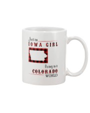 IOWA GIRL LIVING IN COLORADO WORLD Mug tile