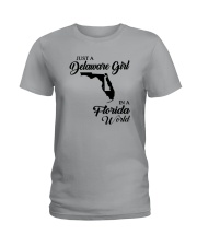 JUST A DELAWARE GIRL IN A FLORIDA WORLD Ladies T-Shirt front