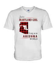 MARYLAND GIRL LIVING IN ARIZONA WORLD V-Neck T-Shirt thumbnail
