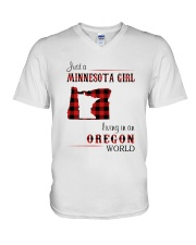 MINNESOTA GIRL LIVING IN OREGON WORLD V-Neck T-Shirt thumbnail