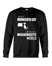 JUST A MINNESOTA GUY LIVING IN MA WORLD Crewneck Sweatshirt thumbnail