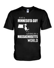 JUST A MINNESOTA GUY LIVING IN MA WORLD V-Neck T-Shirt thumbnail
