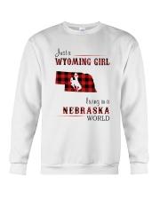 WYOMING GIRL LIVING IN NEBRASKA WORLD Crewneck Sweatshirt thumbnail