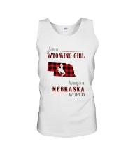 WYOMING GIRL LIVING IN NEBRASKA WORLD Unisex Tank thumbnail