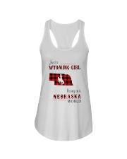 WYOMING GIRL LIVING IN NEBRASKA WORLD Ladies Flowy Tank thumbnail