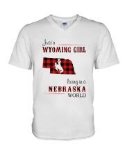 WYOMING GIRL LIVING IN NEBRASKA WORLD V-Neck T-Shirt thumbnail