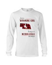 WYOMING GIRL LIVING IN NEBRASKA WORLD Long Sleeve Tee thumbnail