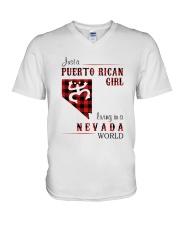 PUERTO RICAN GIRL LIVING IN NEVADA WORLD V-Neck T-Shirt thumbnail