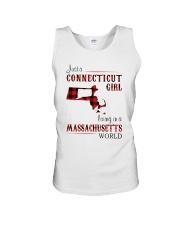 CONNECTICUT GIRL LIVING IN MASSACHUSETTS WORLD Unisex Tank thumbnail